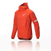 Inov8 Mens Stormshell Full Zip Running Jacket Top Red Sports Hooded Waterproof