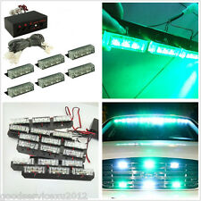 54LED Autos Front Grille Emergency Warning Light Green & White 3 Flashing Models