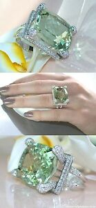25ct Cocktail Party Ring Solid 925 Sterling Silver Green Long Cushion Nw Jewelry