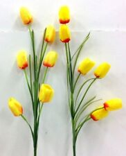 """Tulip Spray Stems~Yellow,Touch Red~(2 Per Order)~36"""" T~Silk/Artificial"""
