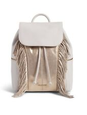 488734e304f8 Vera Bradley Fringed Amy Backpack Sycamore White Gold Metallic MSRP  298