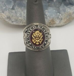 UNITED STATES ARMY STERLING SILVER AND RED CRYSTAL STONE RING SIZE 7.75