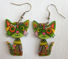 Pair of Acrylic Psychedelic Green Cat Dangle Drop Earrings - Hippy Boho Vintage