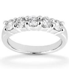 5 Round Diamond Wedding Band Platinum Ring, 1.90 carat F color Si1 clarity