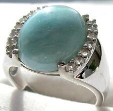 La Luna Ring LARIMAR + WEIßTOPAS;  925er Sterlingsilber