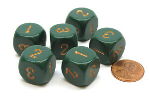 Opaque 16mm D3 (D6 with 1-2-3 Twice) Dice, 6 Pieces - Dusty Green with Copper