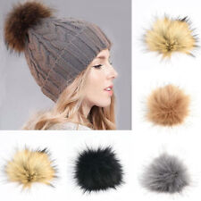DIY Large Faux Raccoon Fur Pom Pom Ball with Press Button for Knitting Women Hat