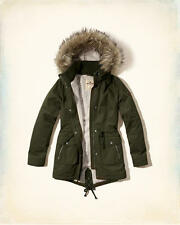 NWT Hollister by Abercrombie Sherpa Lined Faux Fur Hoodie Parka Jacket Olive S