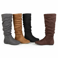 Journee Collection Womens Slouch Knee High Mid Calf Microsuede Riding Boot New