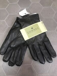 Fownes Genuine Leather Black Gloves Women's Size M $88 Cashmere Blend Liner