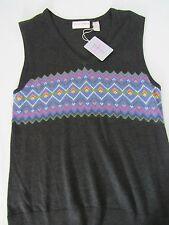 $88 TEHAMA Nancy Haley V-Neck Sweater Vest Black w/Gray-Orange Trim Sz L