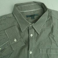 Old Navy Button Up Shirt Mens Large Gray White Long Sleeve Cotton Striped Shirt