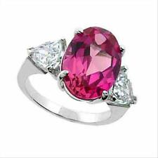 925 Silver Lab Lab Created Pink Sapphire & CZ Three Stone Ring Size 9