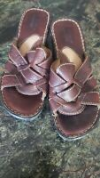 Born Women's Brown Leather Criss Cross Strap Sandals Size 7M Nice Comfortable