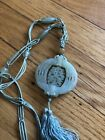Antique Chinese Carved Spinning Translucent Jade Silk Bead Necklace Pendant