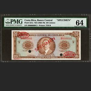 Banco Central de Costa Rica 20 Colones 1964-70 SPECIMEN PMG 64 Choice UNC P-231s