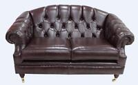 Chesterfield Vintage Victoria 2 Seater Old English Brown Leather Sofa Settee