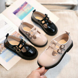 KIDS LEATHER SHOES GIRLS SHINY INFANTS T-BAR SPANISH WEDDING SCHOOL PARTY.FORMAL
