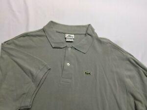 LACOSTE Men's Polo Shirt Logo Gray Short Sleeve 100% Cotton Size 10 4XL