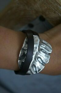 """NWT Uno de 50 Double Wrap Brown Leather Large Leaf """"La Hoja"""" Bracelet 13-14"""""""
