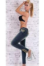 Damen Celeb 3/4 Kette Nieten Jewel SEXY Haut enge Skinny Light Denim Jeans