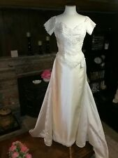 MOONLIGHT Bridal Gown Wedding Dress with detachable train Size 6 100% raw silk