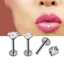 CZ Gem Round Tragus Lip Ring Monroe Ear Cartilage Stud Earring Piercing 16G