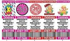 Personalised 30th Ticket Style Birthday Invitations