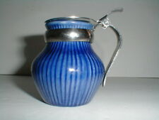 "Rorstrand Sweden BLUE NATIONAL Small 3"" Syrup Pitcher Creamer w Metal Lid"