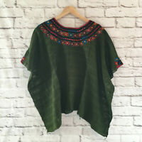 Women's Handmade Embroidered Mexican Huipil Poncho Sweater Blouse - One Size