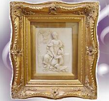 Relief Bild Mutter + Kind am Brunnen Vintage goldfarben Barockrahmen Vintage
