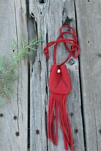 Red leather medicine bag with feathers , Leather crystal bag , Leather neck bag