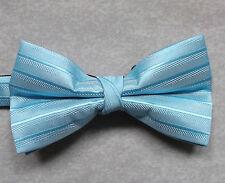 """NUOVO Lusso Papillon Da Uomo Papillon Scintillante design a righe azzurro chiaro 14"""" - 21.5"""""""