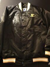 Starter Satin Button Up Jacket Zip-Up 019MN004 Size XL New Black Gold Rare $225