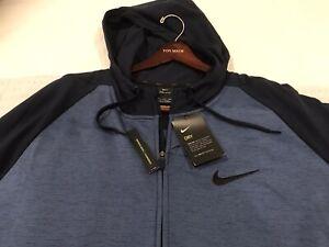 "Bnwtags Nike Dry Fit Navy blue Full Zip Hoody! $75 Training Size XXL Sharp"""""""