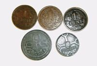 1920-1942 5 Coins Netherlands 5 Coin Lot - Very Fine