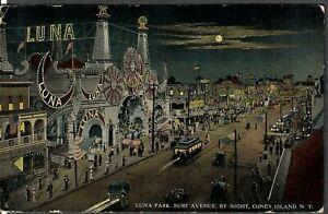 Coney Island Postcard Luna Park, Surf Avenue, By Night