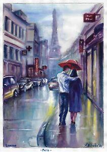 original painting A3 114BOK art samovar watercolor cityscape Paris Signed 2021