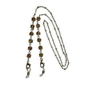 NEW Ladies Gold & Champagne Faceted Beaded Glasses Chain Necklace Strap Holder