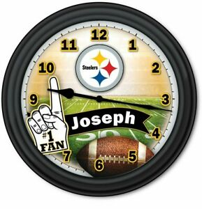 Pittsburgh STEELERS Football Fan PERSONALIZED Wall Clock - Man Cave NFL - GIFT