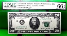 MONEY US $20 1963 A FEDERAL RESERVE NOTE KANSAS CITY PMG GEM UNC FR #2066 J