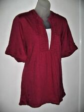 Millers 22 Burgundy/White Knit Top Roll Tab Short Sleeves Pintucks To Front Yoke