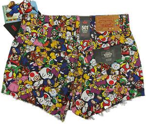 Levi's x Super Mario 501 Original Fit Shorts- 28- NEW- $90- All Over Print Denim