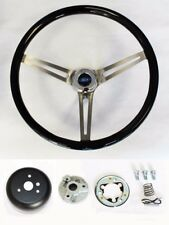 "Torino Fairlane Ranchero LTD Black Wood Steering Wheel 15"" High Gloss Grip"