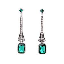 orecchini A perno Argentato Art Deco Lungo Piazza Verde Smeraldo Vintage X11