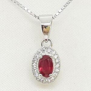 .60ctw Oval Cut Mozambique Ruby & Diamond Cut White Sapphire 925 Silver Pendant