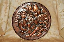 "Antique Style Hammered 18"" Copper Wash Spelter Pilgrim Pub Scene Wall Plaque"