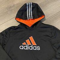 adidas Hoodie Sweatshirt Boys Large Youth Black Orange Logo Pullover Athletic