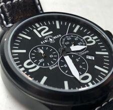 Air Blue Bravo Precision Pilot Mens Watch Chronograph Black Leather Strap In Box