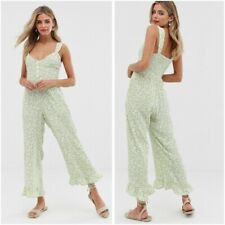 "Faithfull The Brand NWT Women's Avocado Green White Floral ""Lameka"" Jumpsuit 8"